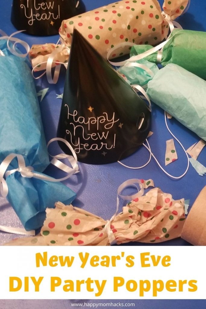 New Year's Eve Party Poppers for Kids. Make DIY confetti party poppers with toilet paper rolls and tissue paper to celebrate the new year. Kids will love cracking open these poppers and seeing the confetti fly. A cheap and fun New Years activity at home you'll want to try this year!