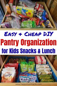 Easy DIY Pantry and Fridge Organization Ideas for small and larger spaces. Get your kids after school snacks and school lunches organized so they can pack it themselves. Simple storage solutions with Dollar Tree items. Stop stressing before and after school getting ready have it organized for an easy back to school year.