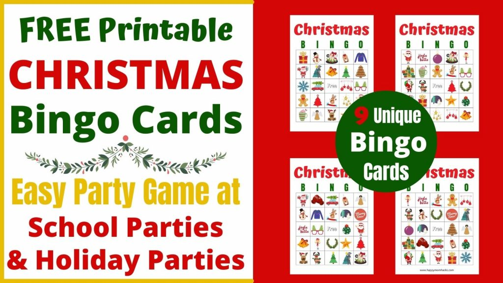 Printable Christmas Bingo Cards for a fun Holiday Party Game for Kids & Families. Use this free printable party game to entertain your guest at this years Christmas Party at school or at home. Just download it, print it and your ready to play!