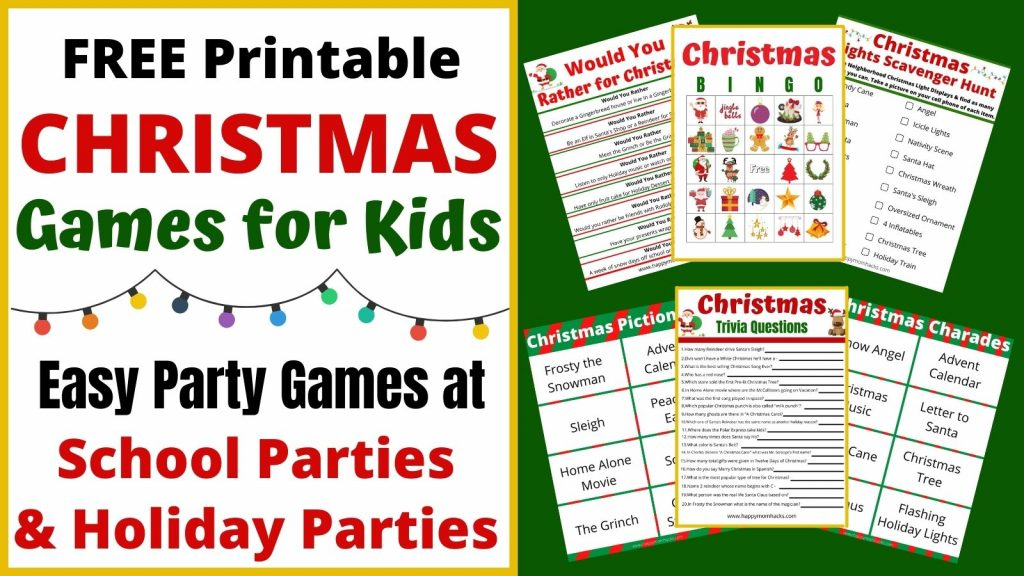 Best Free Printable Christmas Games for kids at Christmas Parties, school parties and family game nights. Enjoy playing party games like Christmas Trivia, Bingo, Pictionary, Charades, Scavenger Hunts and Holiday Would You Rather. Just print out the games and your ready to play!