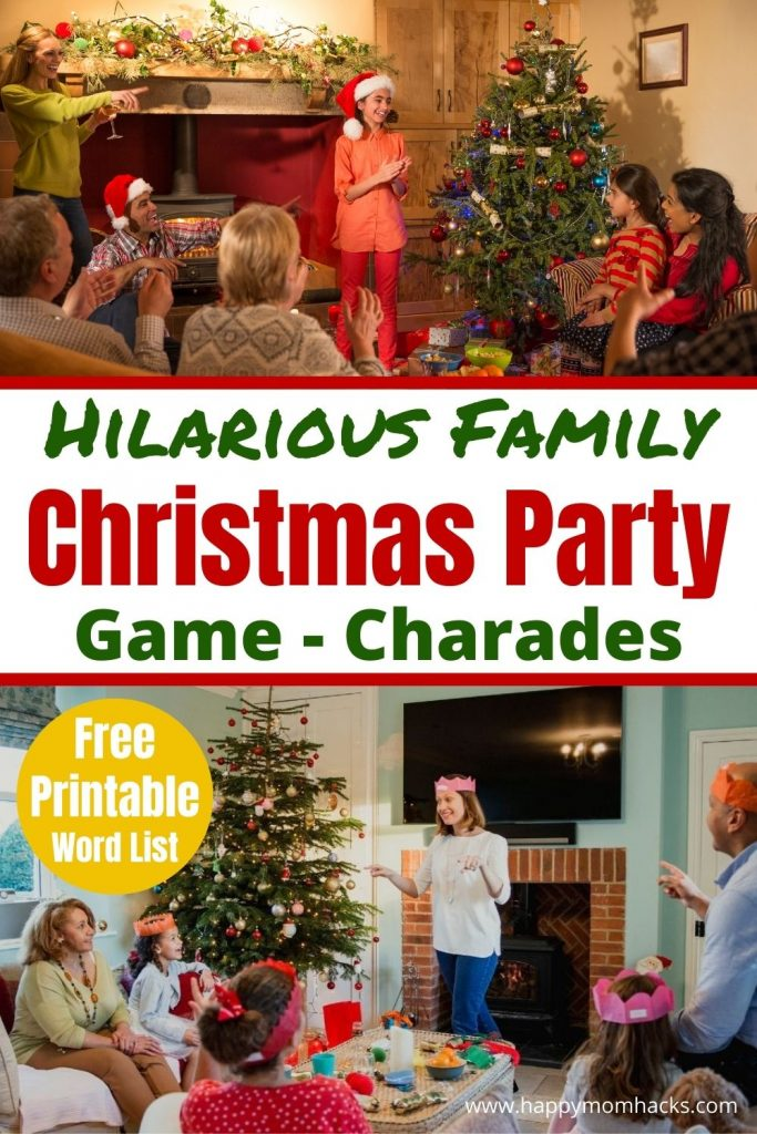Need a fun Family Christmas Party Game? Christmas Charades is both hilarious & a super easy game to play with kids & adults. Just use these free printable Holiday Charade Word list and your party game is ready. Find out why it's the perfect Family Christmas Game.