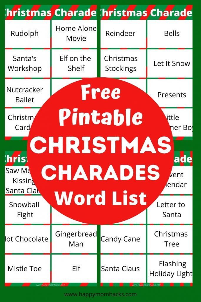 Kids & Adults will Love playing Christmas Charades at your next Holiday Party. This easy family game comes with 32 Free printable Christmas word list ideas. Just print it out and your ready to play!