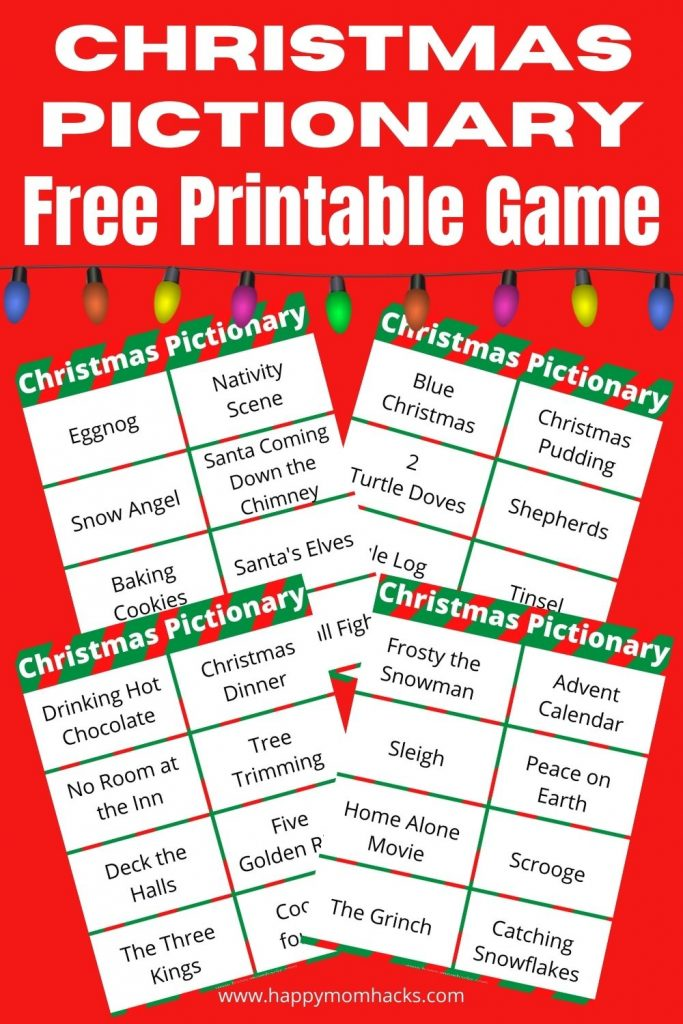 Free Printable Christmas Pictionary Word List. A fun family holiday party game to play with kids and adults. Just print out the word cards and you'll be ready to play.