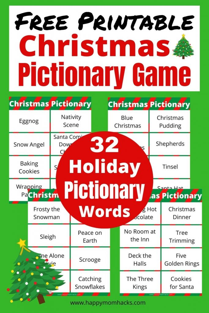 Pictionary is a hilarious Christmas Party Game Kids & Adults will love. Grab this Free Printable Christmas Pictionary word list and you'll be ready to play. Try it at family holiday parties, school parties & virtual Christmas parties too!