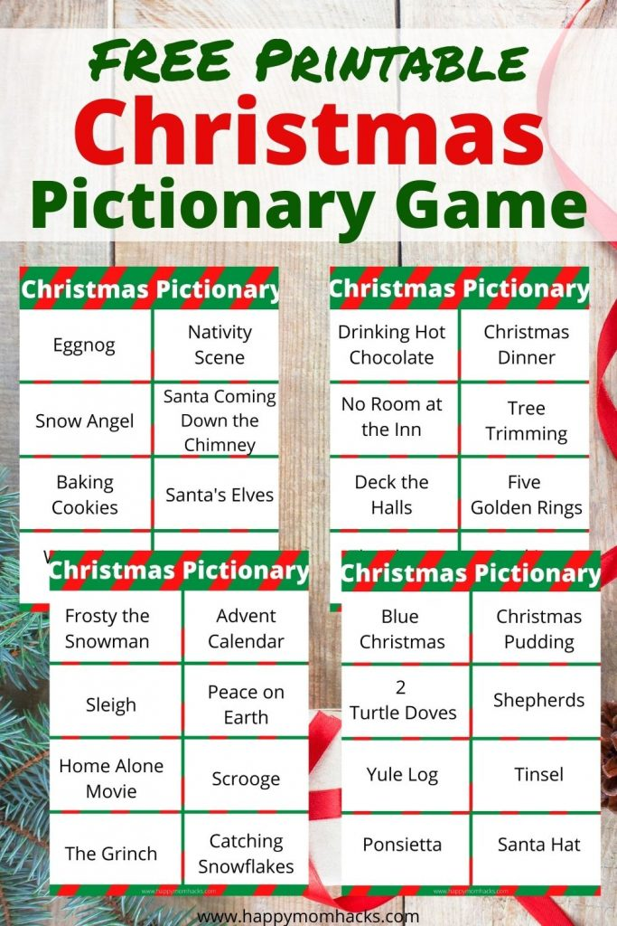 Christmas Pictionary Words lists & free printable cards. A hilarious Christmas party game for families. Kids & adults will have a blast playing this super easy party game.