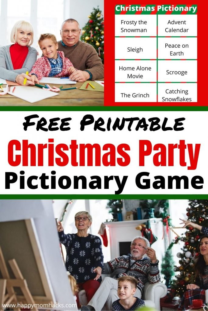 Free Printable Christmas Pictionary Party Game for kids & Adults. Families will have a blast playing a fun game of Pictionary together. Just download the 32 Holiday themed word lists and you're ready to play at your next Christmas party or family game night.