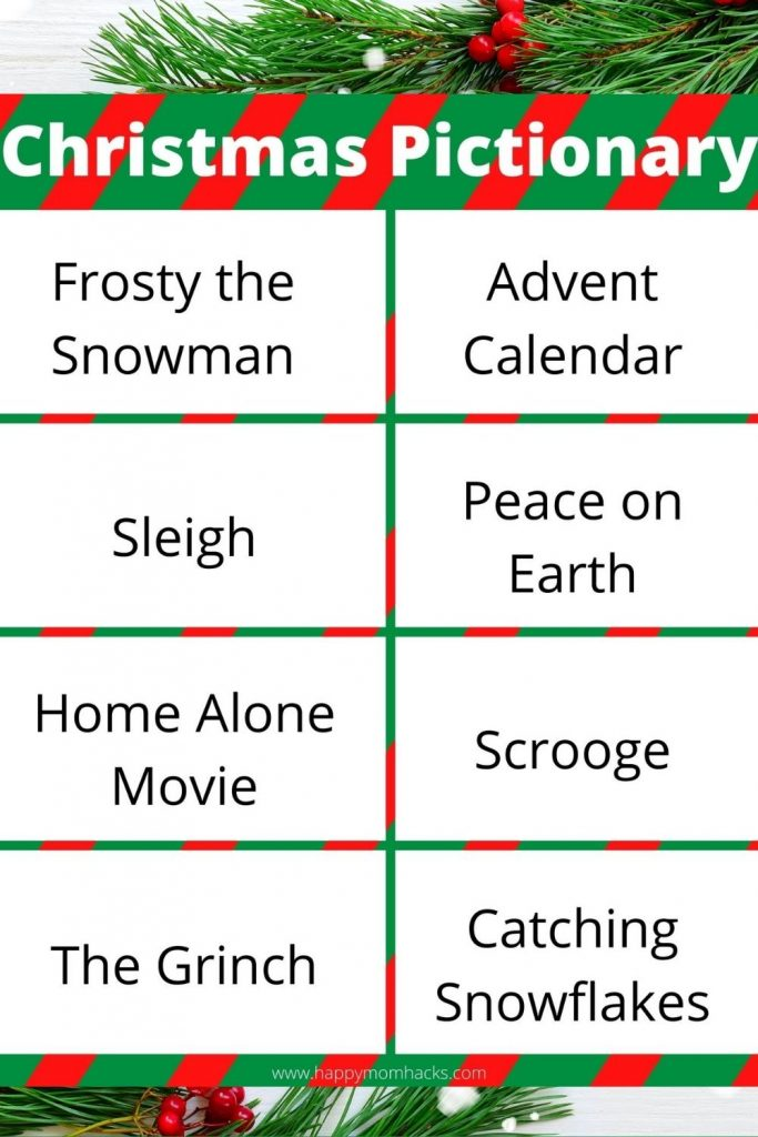 Hilarious Christmas Pictionary Word List. A free printable Holiday Party Game the whole family will love. Get 4 pages of Christmas word ideas to making it the easiest holiday game you could play. No planning just print it out, set up teams and start playing!