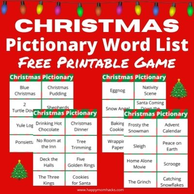 Free Printable Christmas Pictionary Words List & cards. A fun holiday party game for kids and adults. Play it at family Christmas parties, school parties, family game nights or virtual holiday parties. All your guests will have a blast playing!