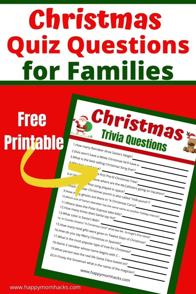 Hilarious Christmas Quiz Questions for Families. Kids & adults will love playing this fun holiday party game at Family Christmas parties & school parties. Just download the FREE printable pdf questions & answers and you're ready to play.