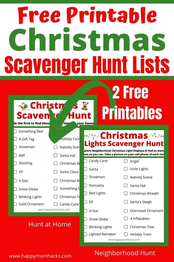Fun Christmas Scavenger Hunt Ideas & Free Printable List. Kids & adults will love this fun holiday party game. Get two different hunts one for home & virtual parties and another one for Neighborhood Christmas lights scavenger hunts. All you need to do is print it out and play.