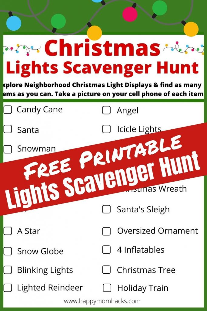 Free Printable Christmas Lights Scavenger Hunt List & ideas. Kids & Adults will enjoy exploring your neighborhood light displays with this fun scavenger hunt. Compete to see who can find the most items or just play for fun to keep your kids entertained. Grab your free printable and bring it with you to your next Light show.