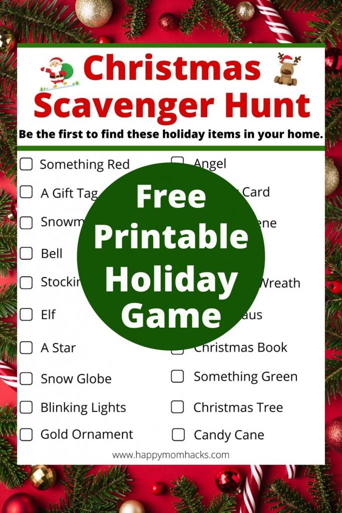 Free Printable Christmas Scavenger Hunt Ideas for Kids & families. A fun holiday party game to play at home, virtual parties and exploring neighborhood Christmas light display. Just print it out and your ready to play. Easiest Christmas game ever!