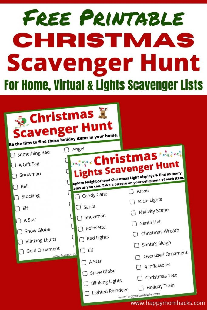 Free Printable Christmas Scavenger Hunt Ideas & Lists for parties at home, virtual parties & exploring neighborhood Christmas light displays. See who can find all the holiday items on the list first. A fun party game kids and adults will enjoy this Christmas.