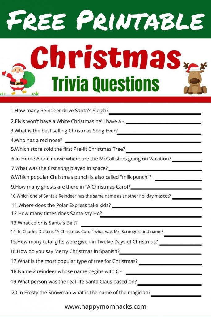 Families will love these funny Christmas Quiz Questions & Answers. Grab your free printable Christmas Trivia party game. It will be the hit of your Holiday party or School Party!