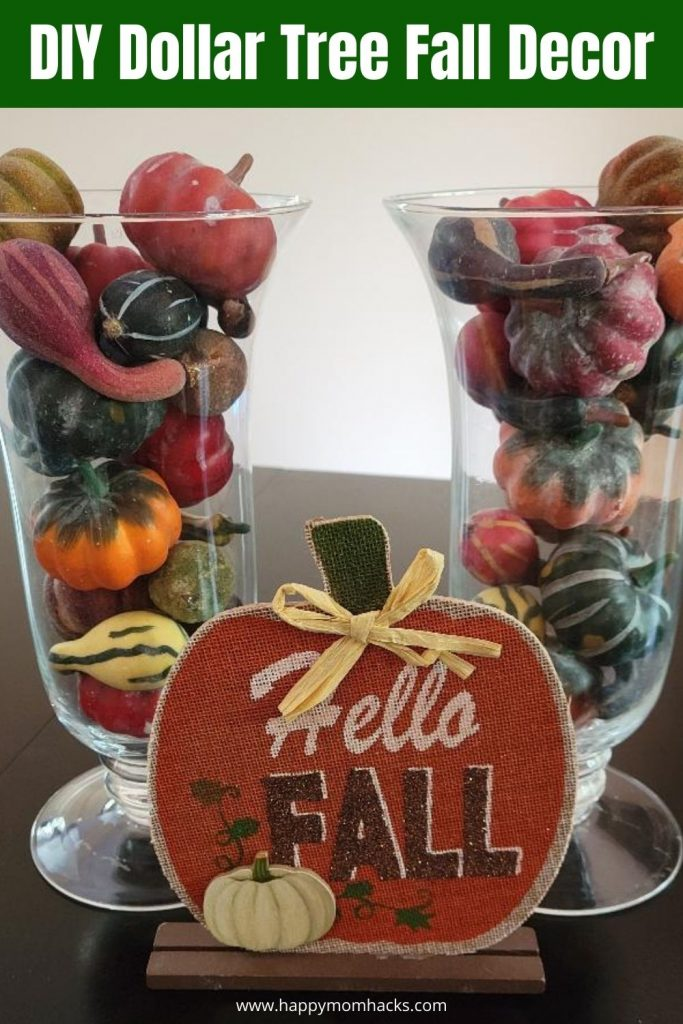 Cute DIY Fall Décor Ideas using Dollar Tree items. Create beautiful fall decorations while only spending a $1. Learn how to decorative your whole house for Fall, Halloween & Thanksgiving with out spending tons of money. Your guest will never know you only spend $1.