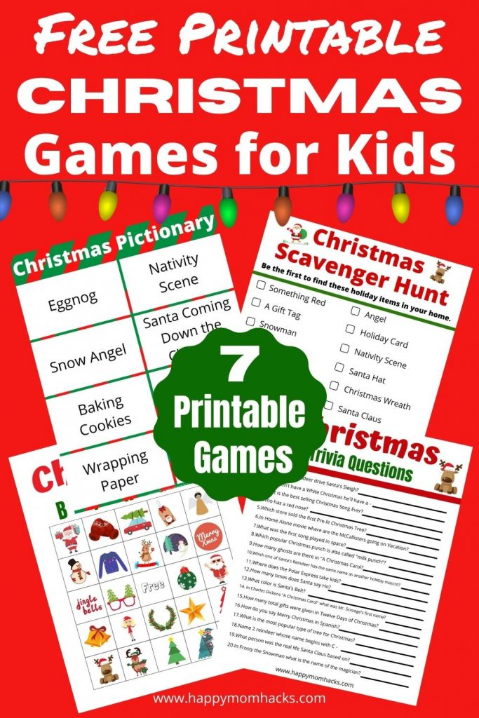 Easy & Fun Christmas Games for Kids at holiday parties, school parties or family game night over winter break. All you need to do is grab your favorite free printable game & your ready to play. Enjoy Christmas Pictionary, Charades, Bingo, Holiday Trivia Questions & answers, Scavenger Hunts and more. Your kids will have a blast playing these holiday party games!