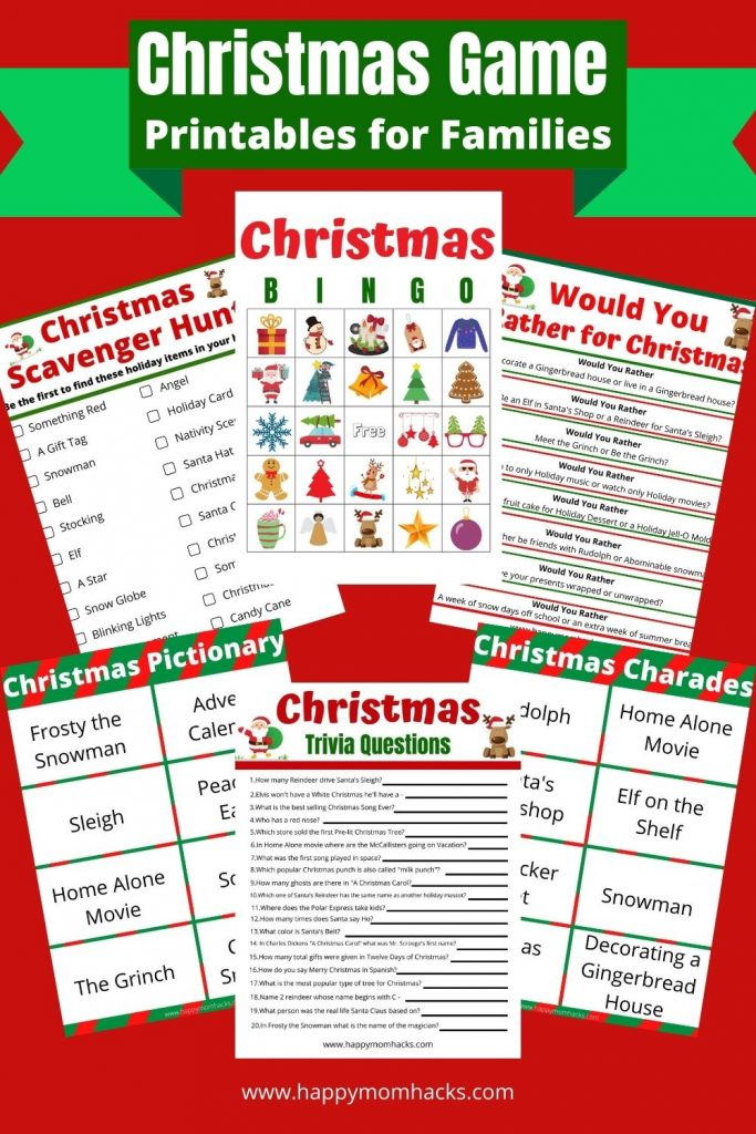 Printable Christmas Party Games Kids & Adults will Love. Free Printable party Games you can download & print to entertain your guest at Christmas parties, school parties or at family game nights over winter break. Play games like Christmas Bingo, Pictionary, Charades, Holiday Trivia Quiz Questions, Scavenger Hunts and more. Plus Minute to Win It Christmas Games. Plan the best Holiday party this year!