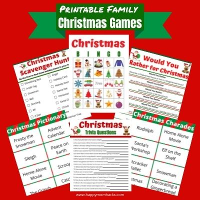Free Printable Christmas Games Kids & Adults will love to play at Holiday Parties.