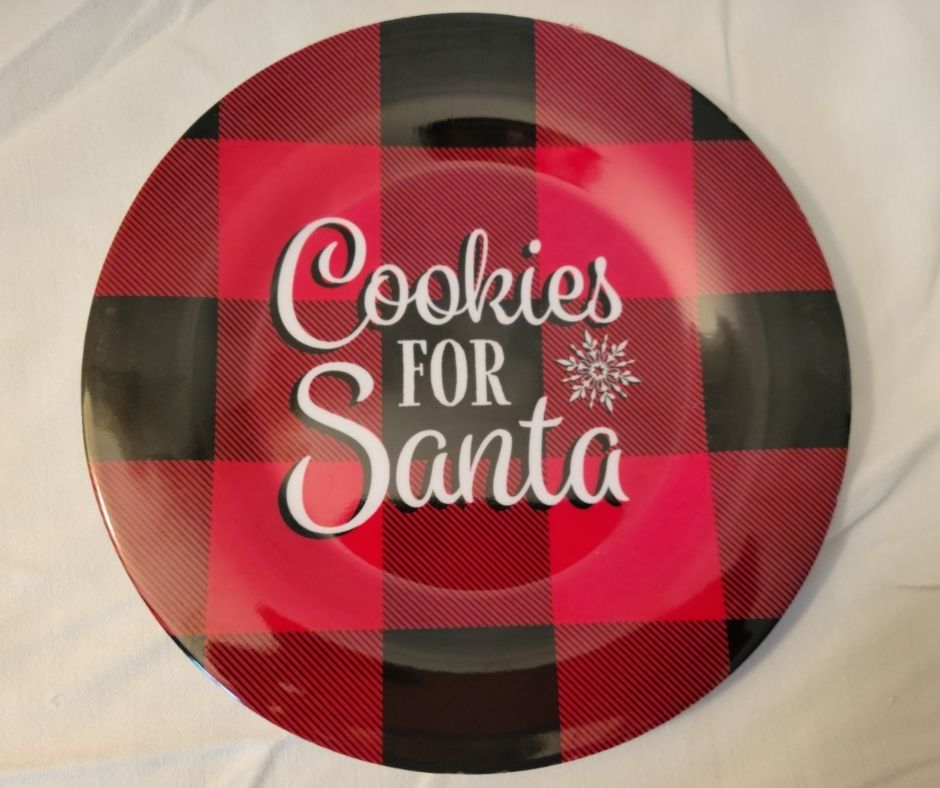 This Christmas Plate for Santa Cookies is a practical Dollar Tree Christmas Decorations you can use and display for the holidays.